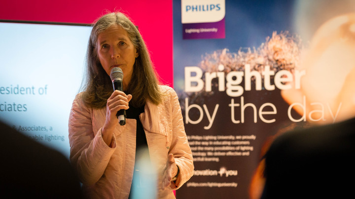 Nancy Clanton speaking about Connected lighting in smart cities. Philips Lighting expert speaker program at light+building