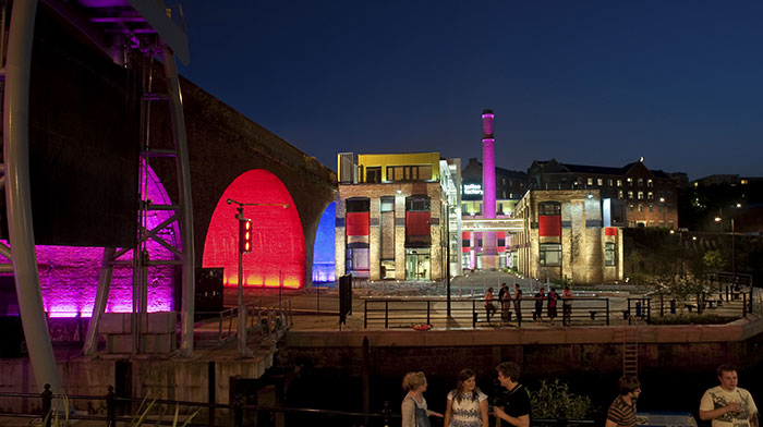 A distance shot on the old toffee factory illumited with Philips LED lights