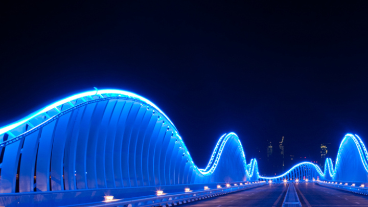Blue bridge lights