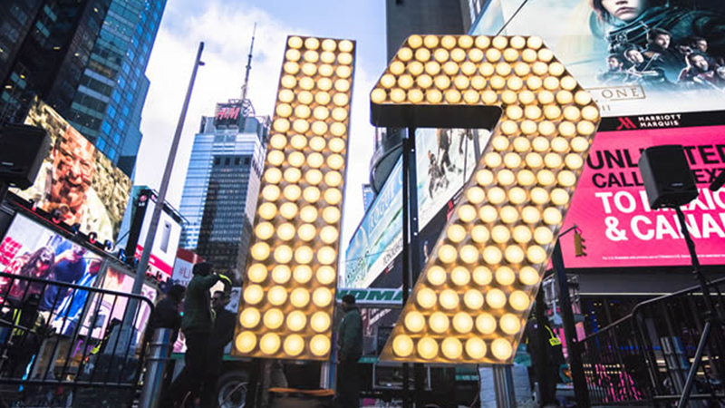 2017 Times Square Ball Numeral Delivery brightens up Duffy Square