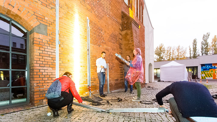 People are experimenting with light in a lighting workshop at Bratislava