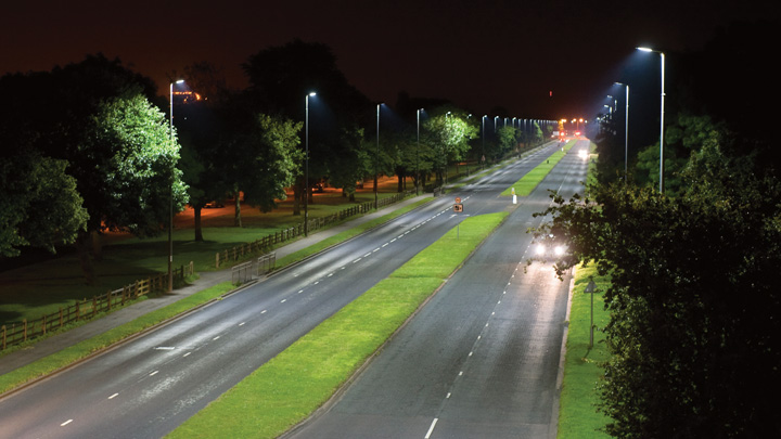 Smart LED lighting illuminates roads and streets