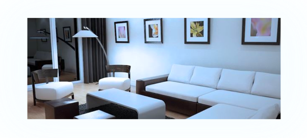 Living room lighting effect with a cool white color temperature
