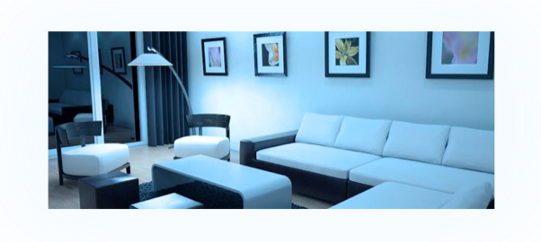 Living room lighting effect with a bright daylight color temperature