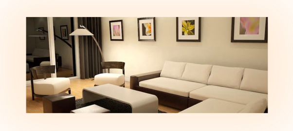 Living room lighting effect with a soft white color temperature