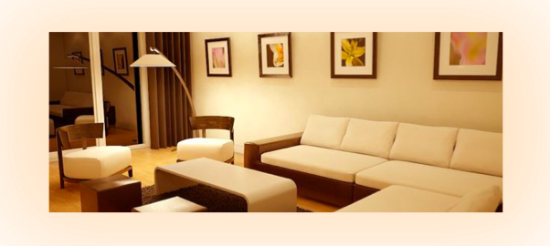 Living room lighting effect with a warm glow color temperature