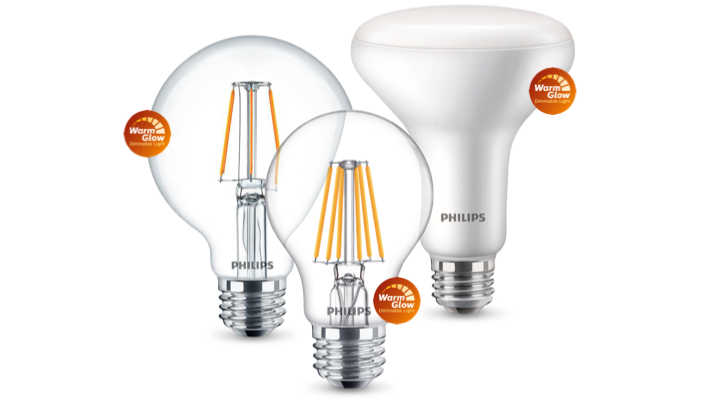 Philips WarmGlow LED bulbs product family with Warmglow labels