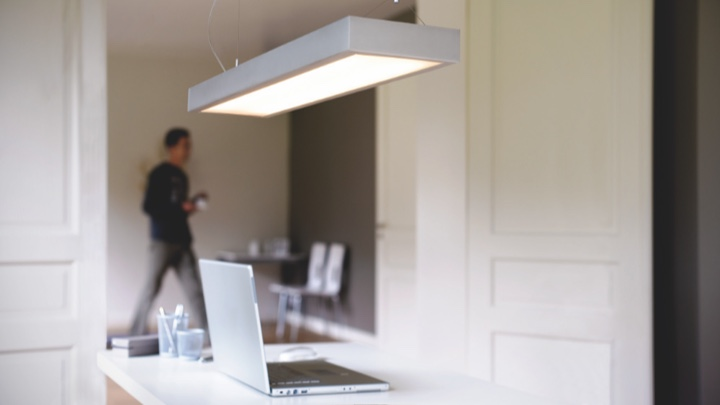 Ceiling light in a home office setting